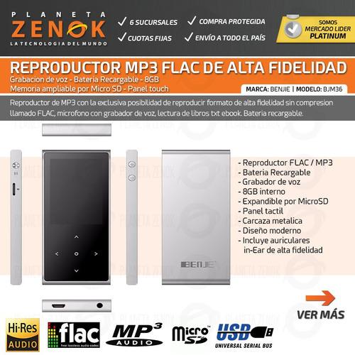 reproductor mp3 flac alta fidelidad recargable usb 8gb