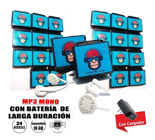 reproductor mp3 mono + bateria extra duracion mas horas !