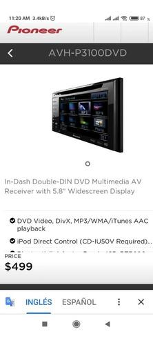 reproductor mp3 pioneer  avh-p3100 dvd en buen estado