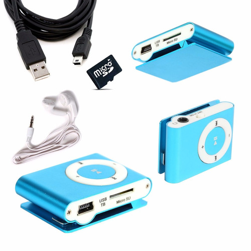 reproductor mp3 shuffle clip correr hasta 32gb + auris + usb