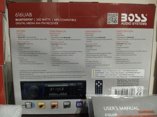 reproductor para carro boss 616uab - bluetooth, usb, control