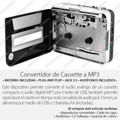 reproductor y convertidor de cassette a mp3 audio digital