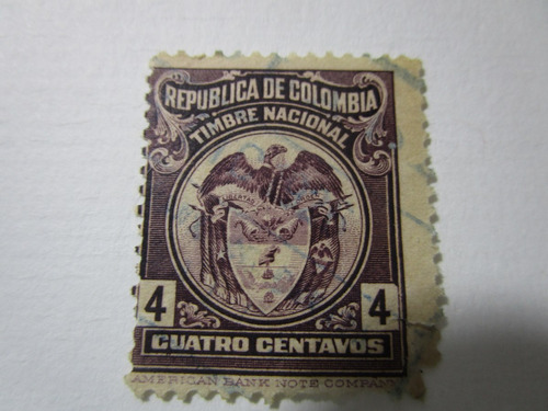 republica colombia timbre nacional escudo estampilla antigua