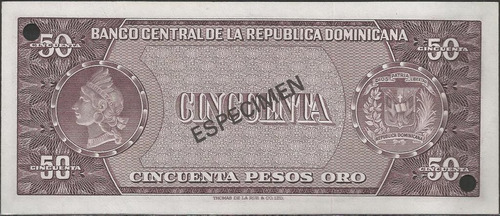 republica dominicana 50 pesos nd1974 p103s specimen