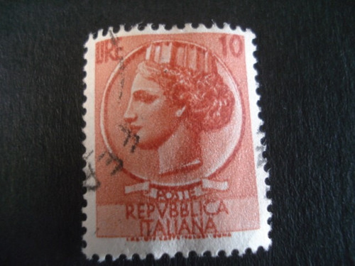 republica  italiana 10 lire sello postal usado