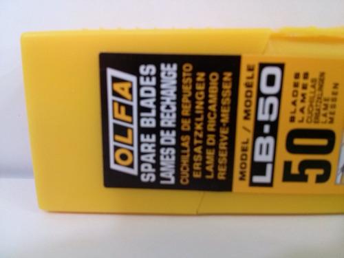 repuesto de cutter marca olfa mod. lb-50 18mm caja x50 hojas