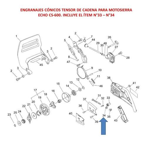 repuesto motosierra echo cs-600 engranajes tensor de cadena