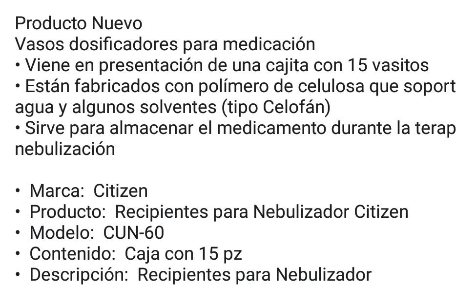 0f4efb7ef Repuesto Recipientes Para Nebulizador Citizen Cun-60 - $ 150.00 en ...