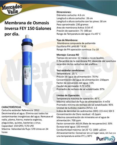 repuesto ro membrana osmosis inversa fey 150 galones dia