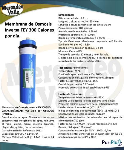 repuesto ro membrana osmosis inversa fey 300 galones dia