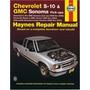 Manual En Ingles De S-10 Sonoma, Y Blazer 1994-1998
