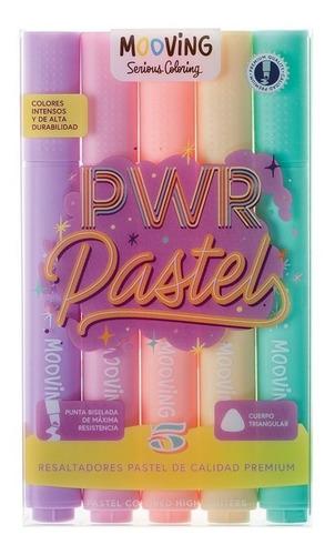 resaltador mooving x5 colores pastel