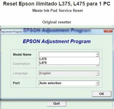 reset epson l375, l475