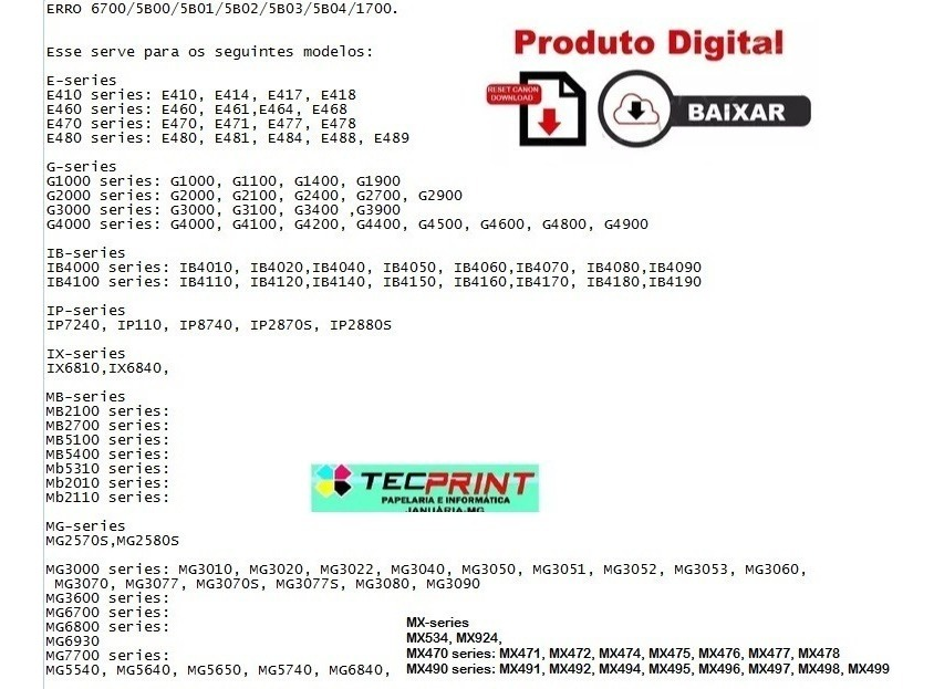 Reset Erro Canon 5b00- G1000 G2000 G3000 G1100 G2100 G3100
