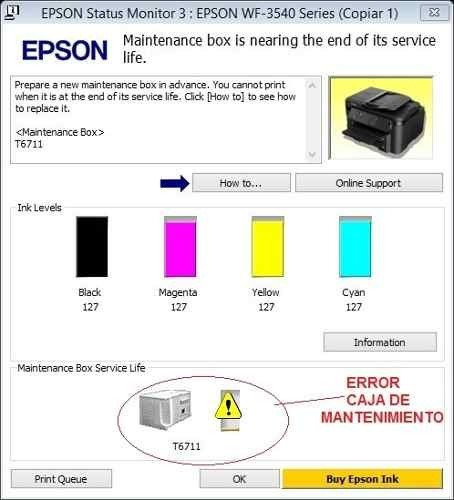 reset impresora epson 3540 / 3520 caja de mantenimiento