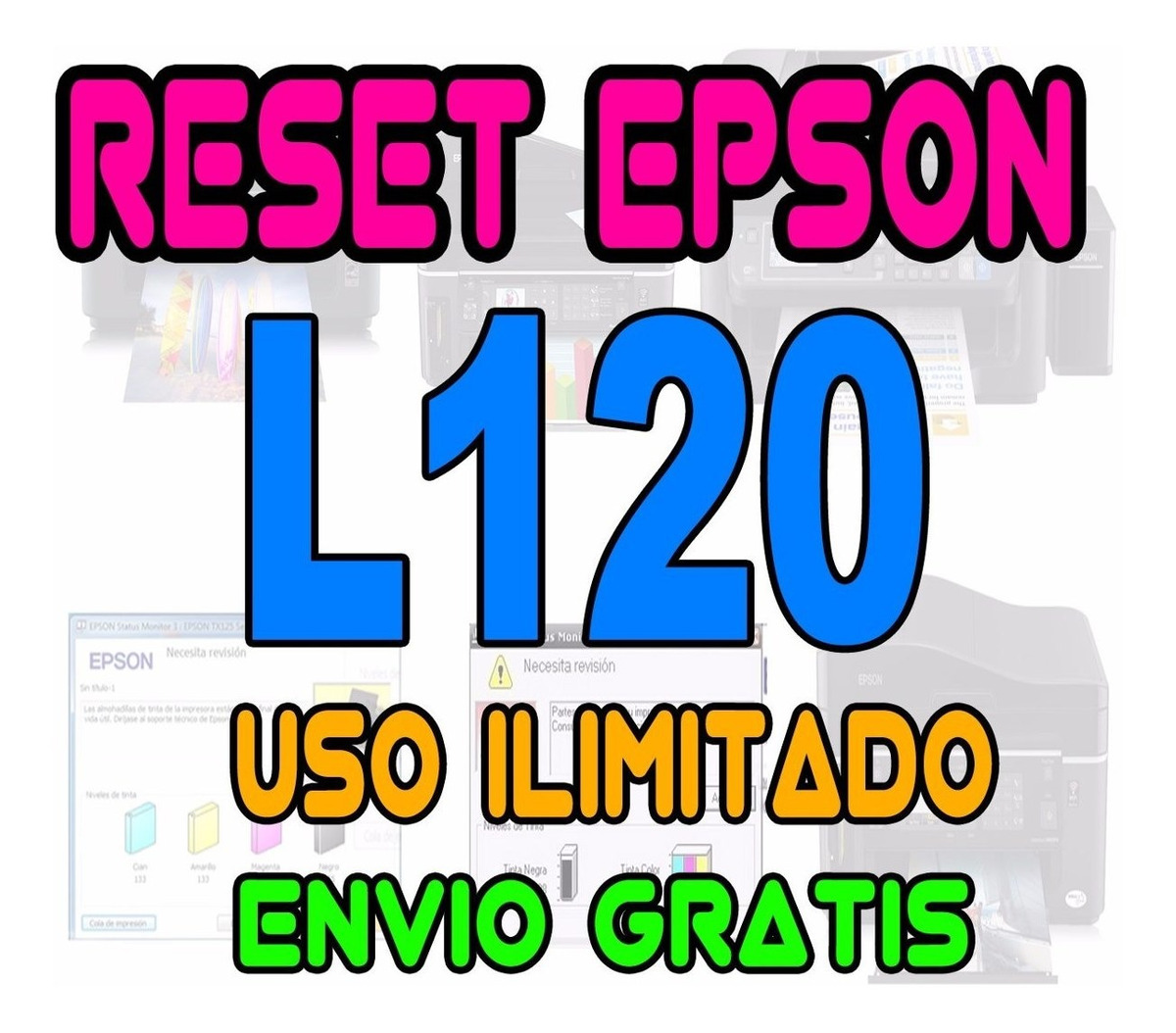 Reset Impresora Epson L120 L455 L1300 L1800 L365 L220 Me960