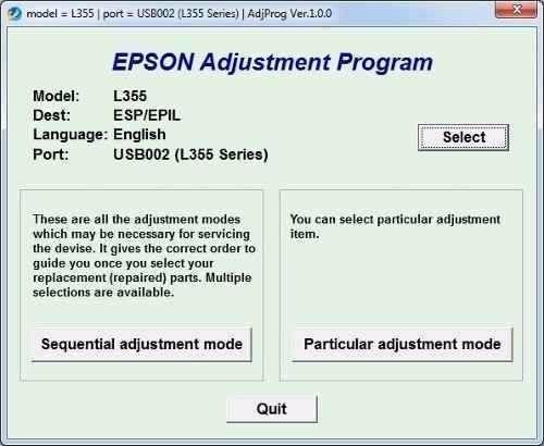 reset impressora epson l355 - l110 - l210 - l350 - l300