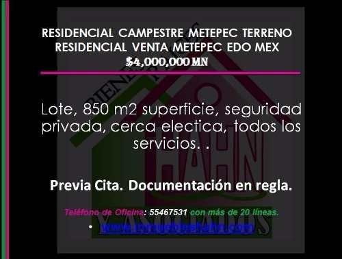 residencial campestre metepec terreno residencial venta metepec edo me