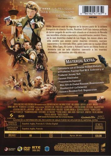 resident evil 3 la extincion milla jovovich pelicula dvd