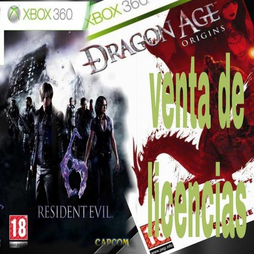 resident evil 6 & dragón age (juegos 360)