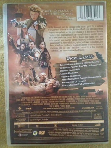 residentevil3: extinción dvd original