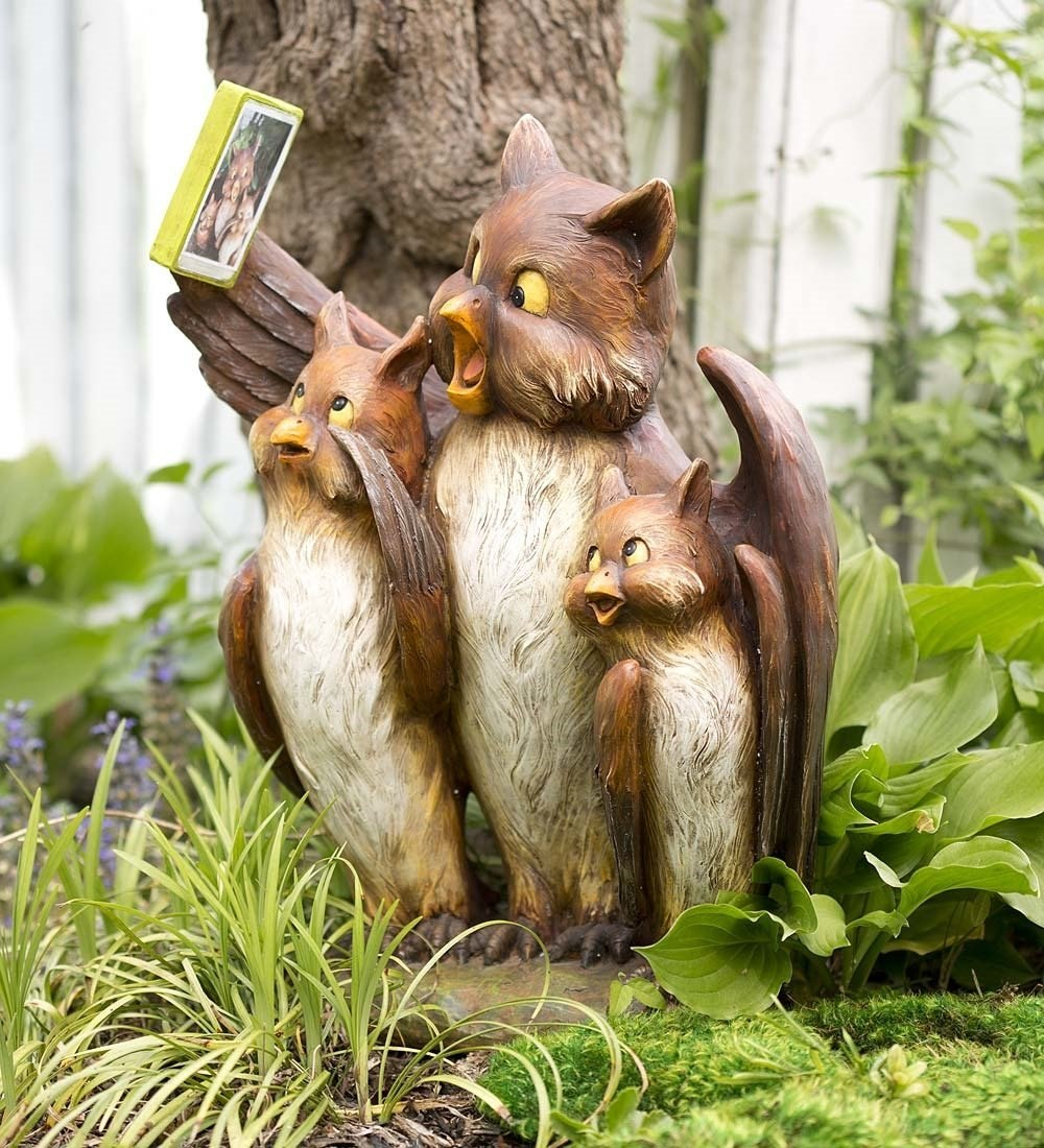 Resin Owl Family Selfie Garden Sculpture Statue Animal Pictu ...