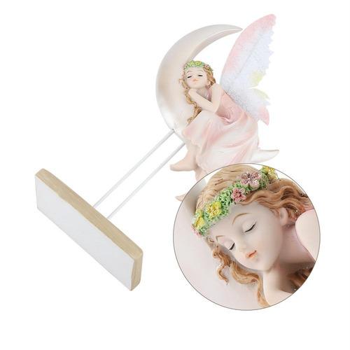 resina ángel de creciente luna casa decoración adornos de