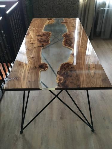 resina epoxi cristal baixa: mesa madeira river table 4,26 kg