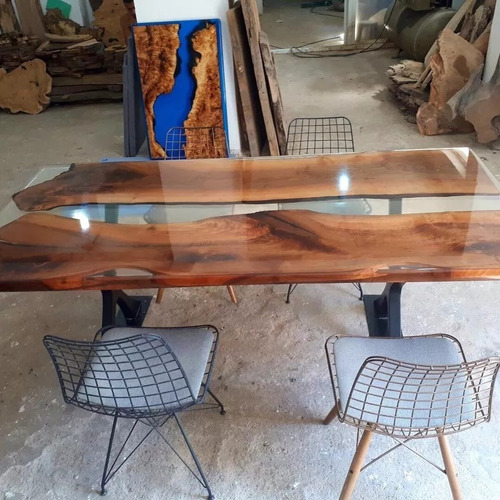 resina epoxi cristal baixa: mesa madeira river table 8,52 kg