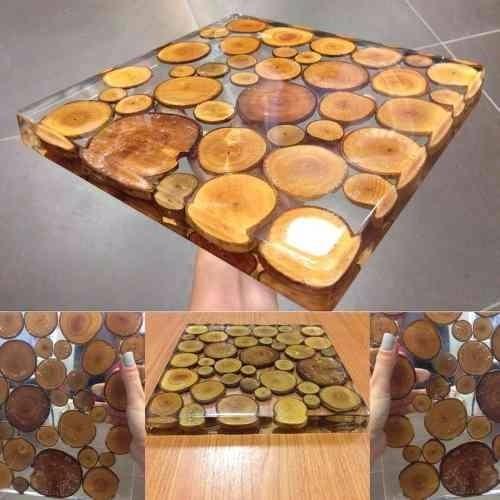 Resina ep xi cristal incolor p piso 3d mesa e madeira 2 kit r 159 99 em mercado livre - Mesas de exterior de resina ...