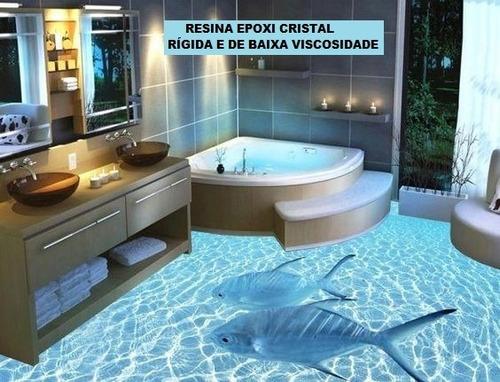 resina epoxi cristal piso 3d porcelanato líquido kit 1.42 kg
