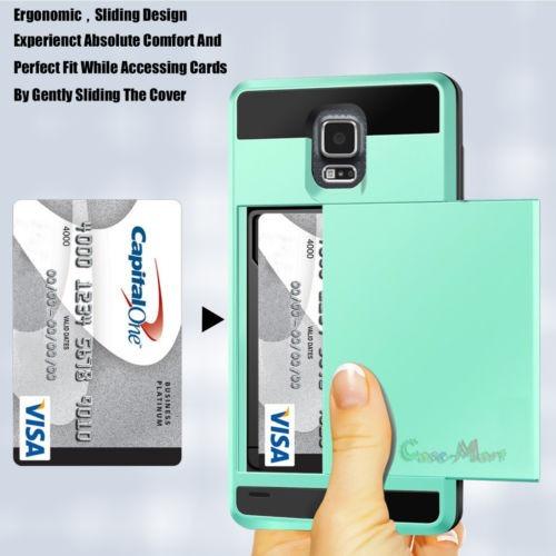 resistente tarjeta ranura billetera mata duro caso cubrir