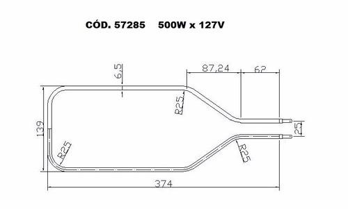 resistência elétrica forno elétrico layr 127v 500w interna