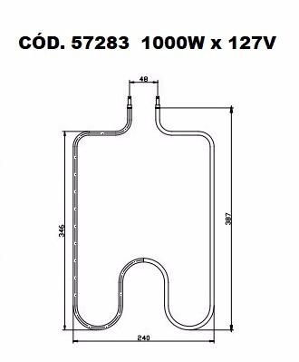 resistência elétrica forno elétrico layr cristal 1000w 127v