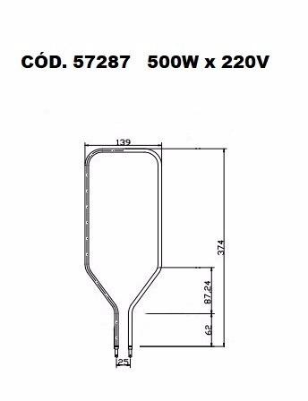 resistência elétrica forno elétrico layr luxo 500w 220v