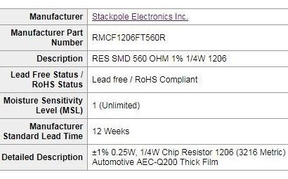 resistor smd 1206 560 ohms 1/4w 1%( kit c/ 25 unidades)