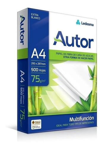 resma a4 papel autor 75grs 500 hojas para inkjet oficina