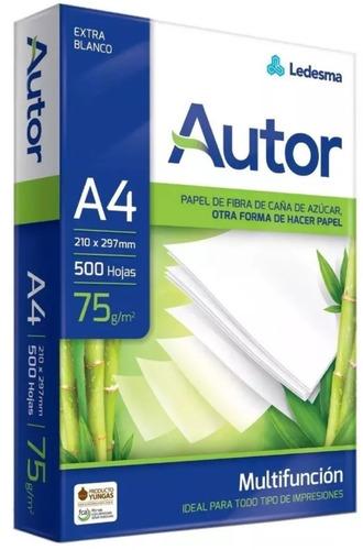 resma autor a4 caja x 5 papel 75 grs 500 hojas envio rapido
