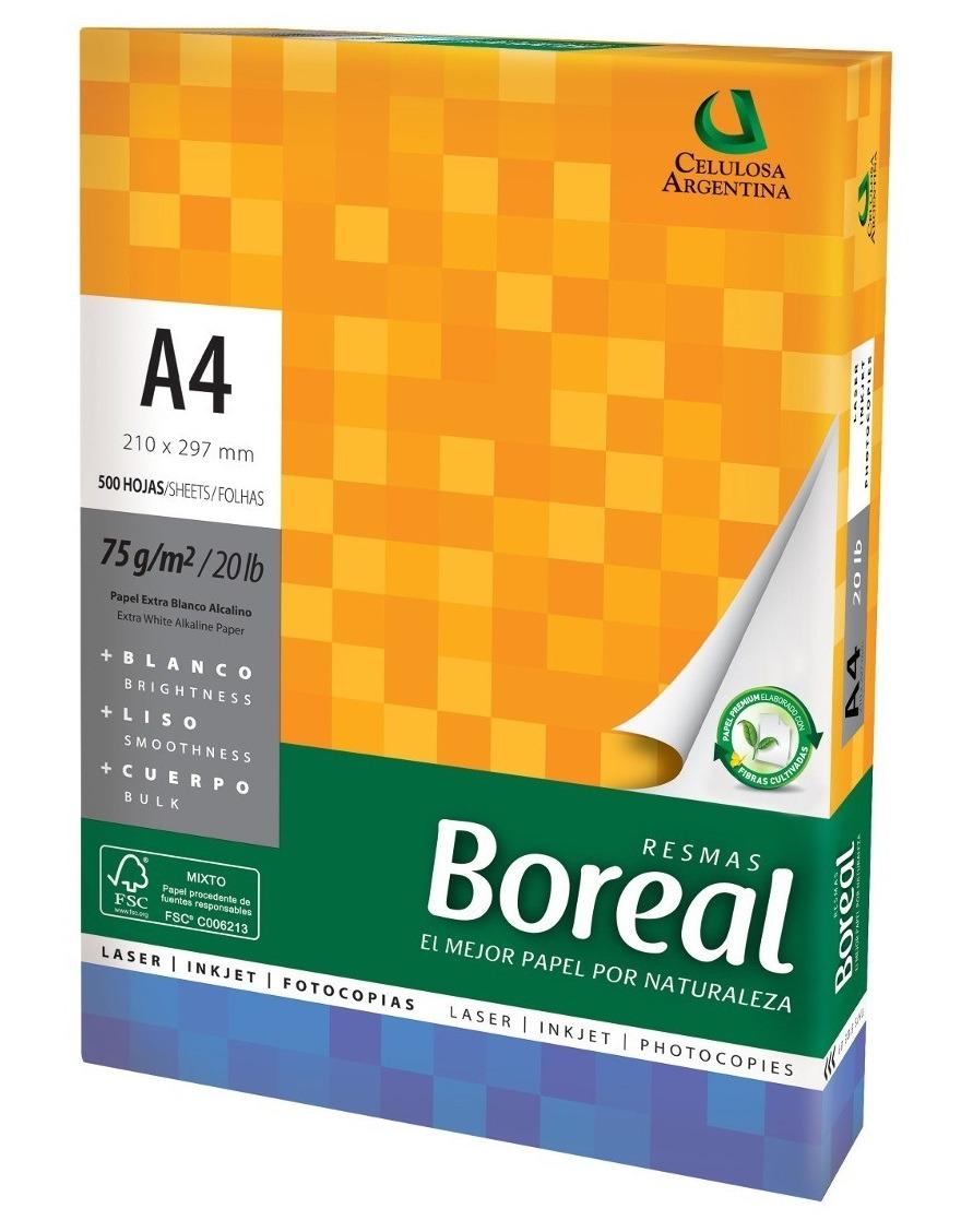 a81ceb33c Características. Marca Boreal  Tamaño del papel A4  Cantidad de hojas 500   Tipo de papel Resmas  Gramaje 75 g ...