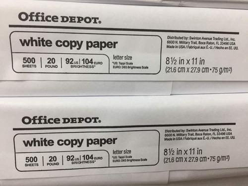 resma papel carta bond 20 office depot precio incluye iva