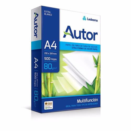 resmas papel autor a4 80 grs x500 hojas caja x10u/5000hojas