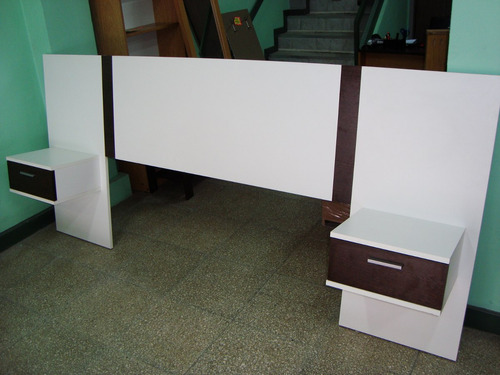 respaldo 2 plazas cama/sommier + mesas de luz flotantes!!!