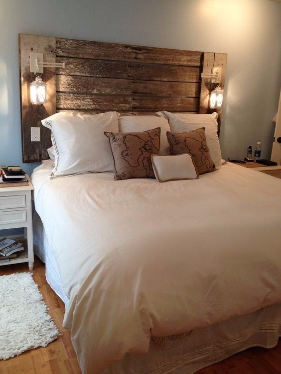 Respaldo cabecera rustico madera sommier cama dormitorio for Mueble rustico ikea