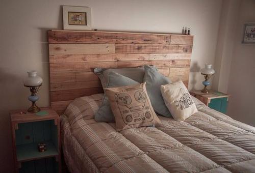 Respaldo cama sommier de pallet en mercado libre for Respaldo de sommier