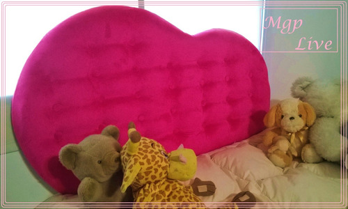 respaldo cama sommiers corazon nenas y baul plaza y media