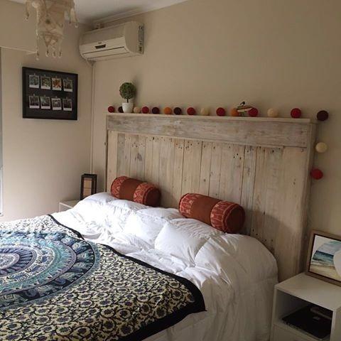 Respaldo de cama en madera reciclada en - Cabecera de cama reciclada ...