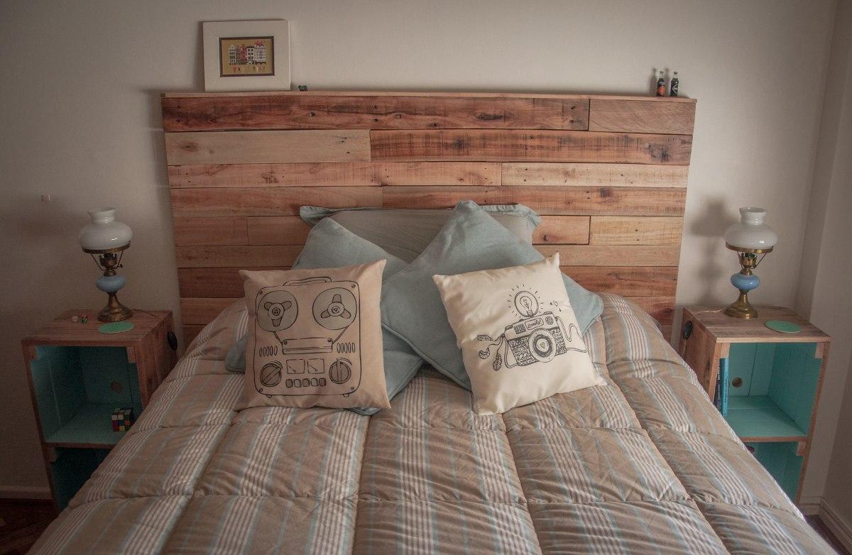 respaldo de cama en madera recilcada pallets