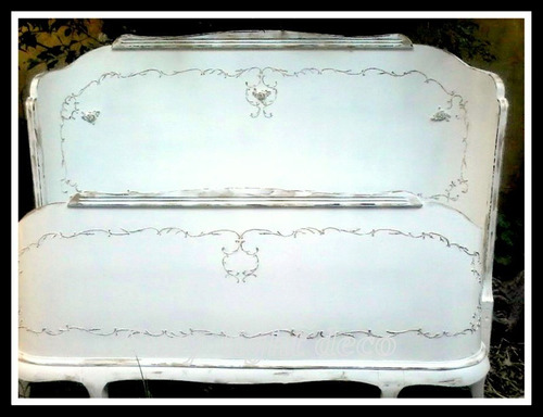 respaldo de cama y piecera , estilo luis xv restaurado