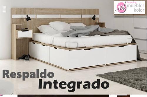 respaldo integrado c/mesa de luz la valenziana muebles kolor