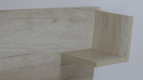 respaldo sommier cama con mesas de luz integradas para colchones de 140 a 200 cm en melamina texturada - 3006